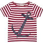 Børnetøj Emma och Malena Myx Stripe T-shirt - Raspberry/White/Print (EM3851R)