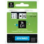 Kontorartikler Dymo D1 Black On White Tape 12mmx7m