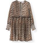 Ganni Pleated Georgette Mini Kjole - Leopard