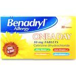 Cetirizine dihydrochloride Håndkøbsmedicin Benadryl One Day 10mg 30stk