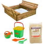 Nordic Play Sandpit with Bench & Lid with 240kg Sand