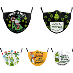 Face Mask Christmas Cartoon Print PM2.5 Filter for Adult 5-pack
