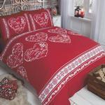 Xmas Red Slogans Snowflake Bed Set 135x200cm