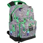 "Skoletaske Minecraft 17"" Overworld All Over Backpack - Grey/Green"