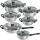 Gryder og Pander tectake Stainless Steel Pot Sæt med låg 12 dele