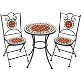 Cafésæt Havemøbler tectake Cafésæt med mosaik, 2 stole + bord Ø 60 cm Cafésæt, 1 borde inkl. 2 stole