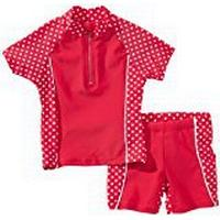 Playshoes Girl's UV Sun Protection 2 Piece Polka Dot Swim Set Swimsuit, Red (Original), 5 Years (Manufacturer Size:110/116 (5-6 Years))