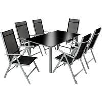 tectake Aluminium havemøbler 6+1 Havemøbelsæt, 1 borde inkl. 6 stole