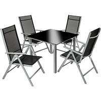 tectake Aluminium havemøbler 4+1 Havemøbelsæt, 1 borde inkl. 4 stole