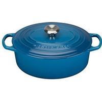 Le Creuset Marseille Blue Signature Cast Iron Oval Gryde med låg 31cm