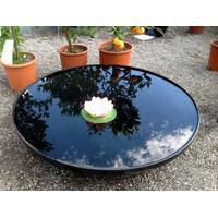 Sortlakeret rundt spejlbassin -80 cm