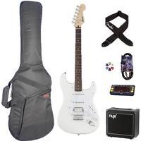 Fender Squier Bullet Strat HT HSS, elguitar begynder pakke hvid