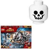 LEGO Opbevaringshoved, skelet + LEGO Super Heroes Kvantedimensionens eventyr, 4 på lager