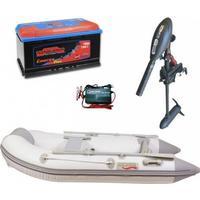 Gummibåd-sæt AQUARIB EXTREME 250 incl. 55 lbs Haswing motor, marinebatteri 100 AH samt oplader