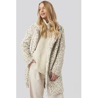 NA KD Jakke Soft Faux Fur Long Coat Light Beige