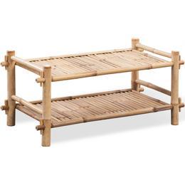 vidaXL Skohylde i bambus med 2 hylder Skohylde