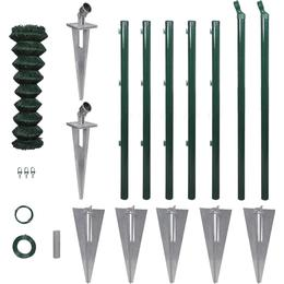 vidaXL Chain-Link Fence Set with Posts Spike Anchors 15mx80cm