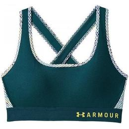 Under Armour Mid Crossback Print Sports Bra - Tourmaline Teal/White
