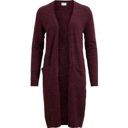 Vila Long Knitted Cardigan - Red/Win Tasting