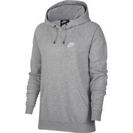 Nike Essential Fleece Pullover Hoodie Women - Dark Grey Heather/Matte Silver/White