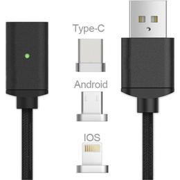 Teknikproffset Magnetic USB A-USB C/USB Micro-B/Lightning 1m