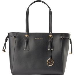 Michael Kors Voyager Medium Crossgrain Leather Tote Bag - Black