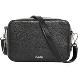 Tasker Ganni Textured Leather Bag - Black