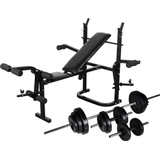 vidaXL Weight Bench Set with Weight Stand Barbell & Dumbbells 30.5kg