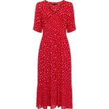 French Connection Fayola Drape Midi Tea Kjole - Fiery Red Multi