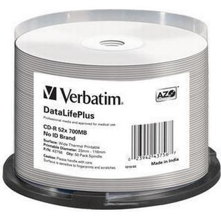 Verbatim CD-R No ID Brand 700MB 52x Spindle 50-Pack Wide Thermal