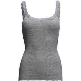 Rosemunde Silk Top Regular W/Rev Vintage Lace - Light Grey Melange