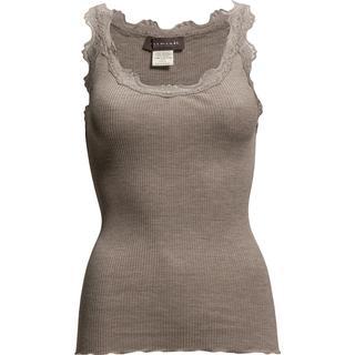 Rosemunde Silk Top Regular W/Vintage Lace - Brown Melange