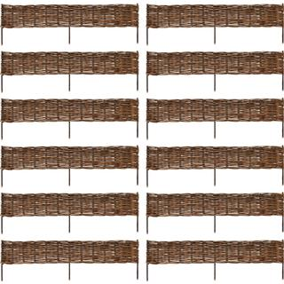 vidaXL Garden Willow Border Fence 12pcs 120x35cm