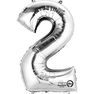 Amscan Foil Ballon Minishape Number 2 Silver
