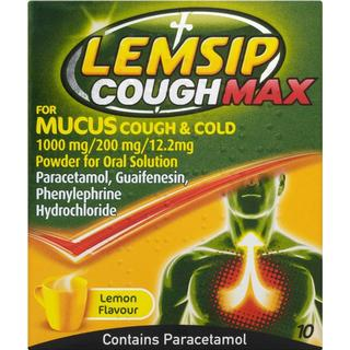 Lemsip Cough Max for Mucus Cough & Cold Lemon 1000mg 10stk