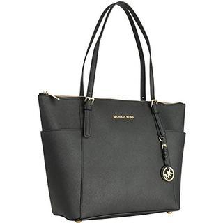 Michael Kors Jet Set Large Saffiano Leather Top-Zip Tote Bag - Black