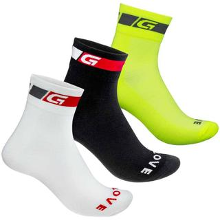 Gripgrab Tricolore Regular Cut 3-Pack Sock Unisex - White/Black/Fluo Yellow