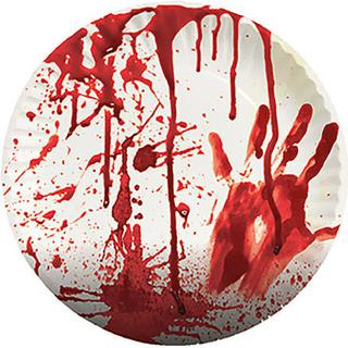 Plates Paper with Blood White/Red 8-pack