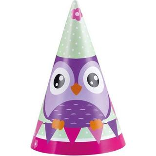 Amscan Hats Party Cone Happy Owl 8-pack