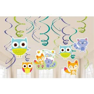 Amscan Swirl Decorations Woodland Welcome 12-pack