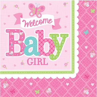 Amscan Napkins Welcome Baby Girl Luncheon 16-pack