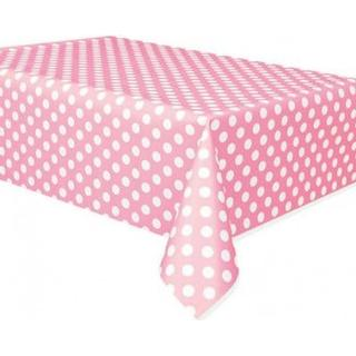Unique Party Table Cloth Polka Dot Hatch White/Pink