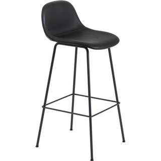 Muuto Fiber Tube Base with Backrest 75cm Leather Barstol