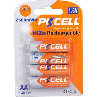 PKCELL NiZn Rechargeable Battery AA 2500mWh 4-pack