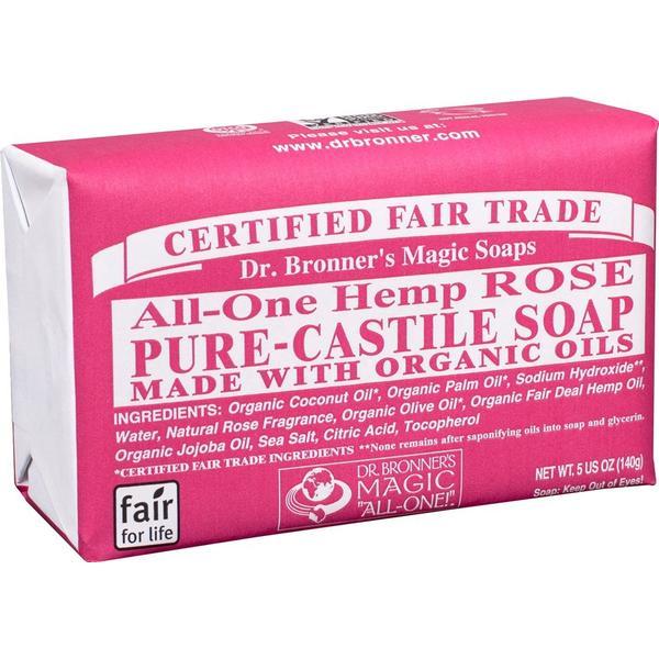 Dr. Bronners Pure Castile Bar Soap Rose 140g