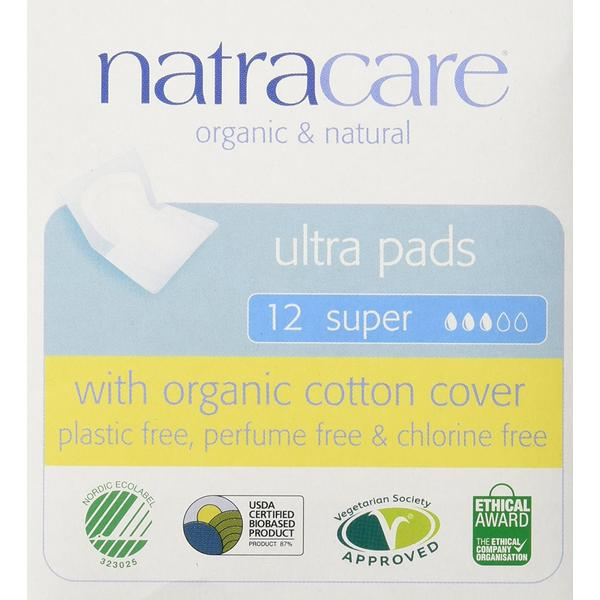 Natracare Organic Ultra Super Pads with Wings 12-pack