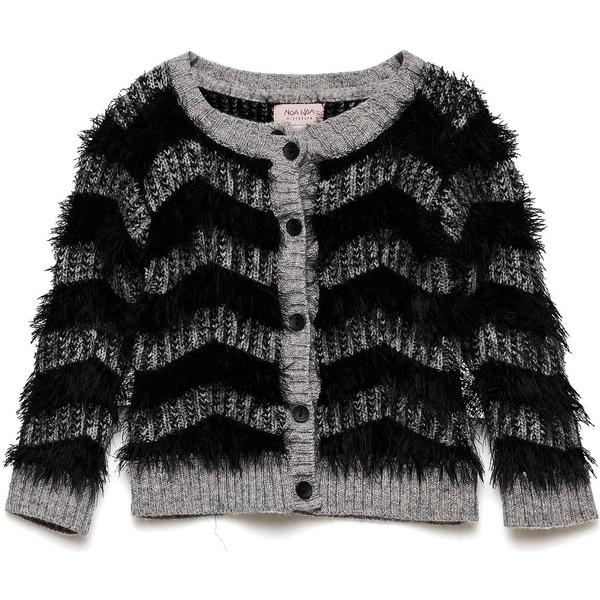Noa Noa Miniature Cardigan with Plush Effect - Grey Melange (2-4804-1)