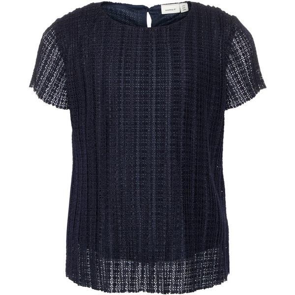 Name It Plisse Short Sleeved Top - Blue/Dark Sapphire (13150495)