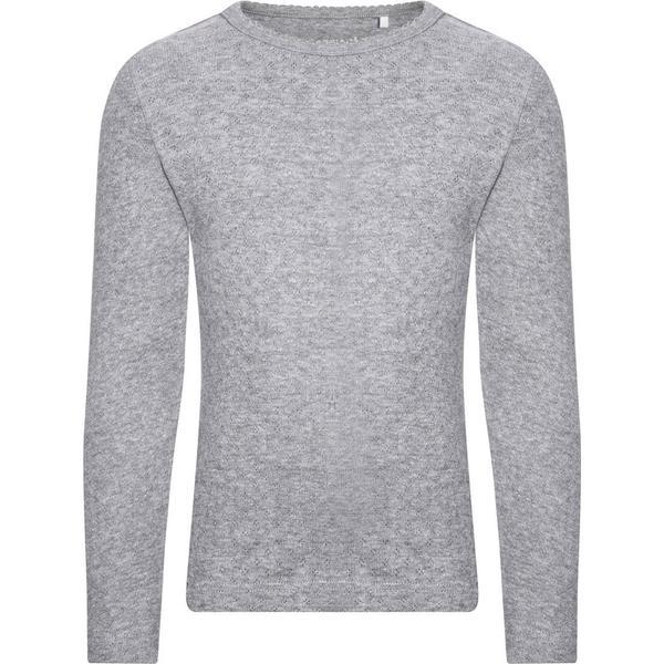 Name It Mini Slim Pointelle Long Sleeved Top - Grey/Grey Melange (13147679)