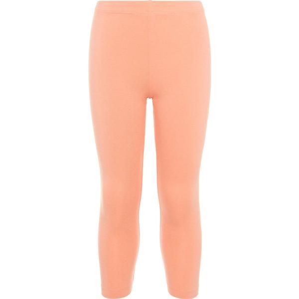 Name It Kid's Solid Coloured Cotton Capri Leggings - Orange/Blooming Dahlia (13154794)